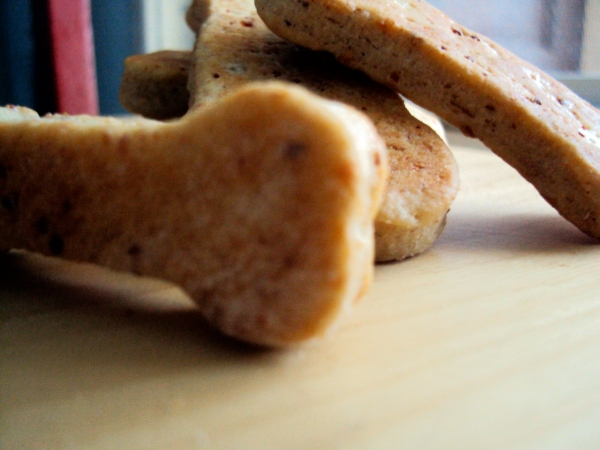 Yum! Dog biscuits.
